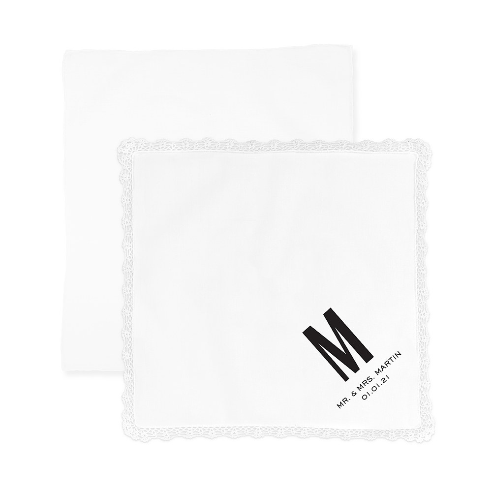 Personalized White Pocket Handkerchief - Sans Serif Monogram