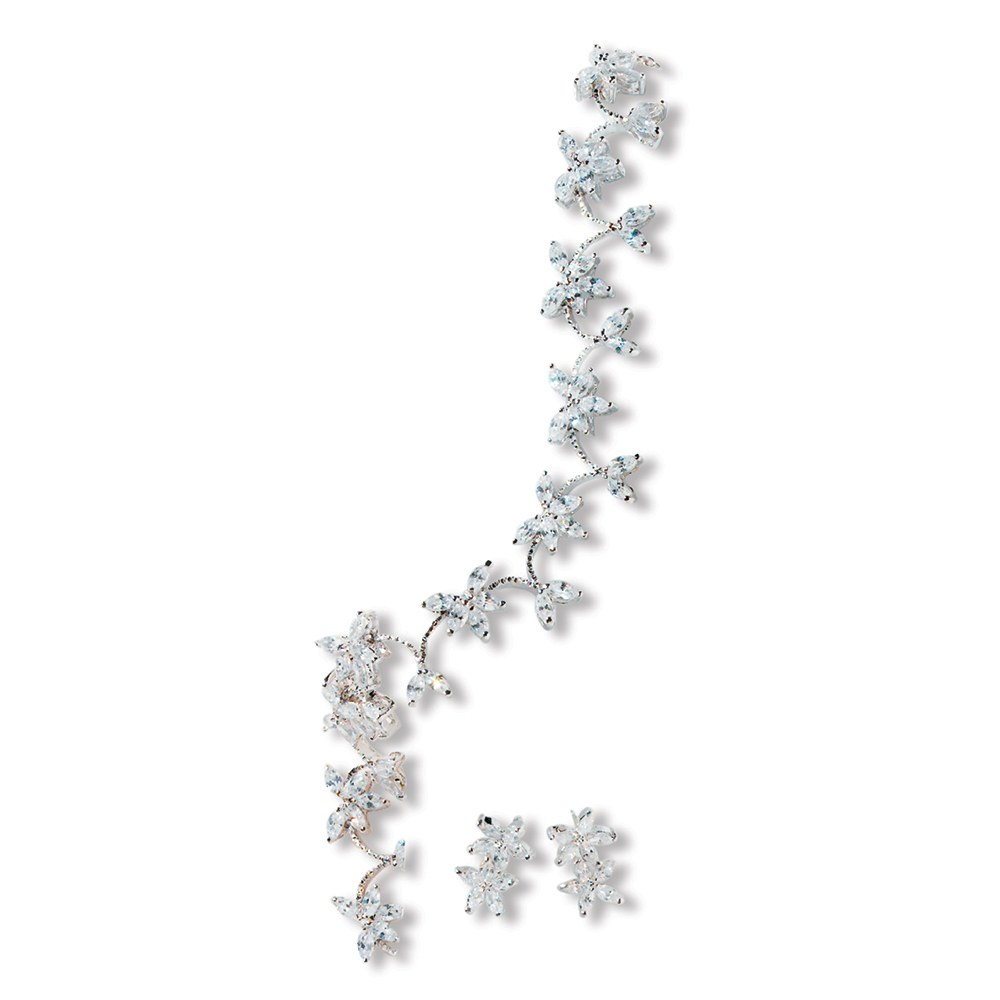 Complete Silver Jewelry Set – Crystal Flower Clusters