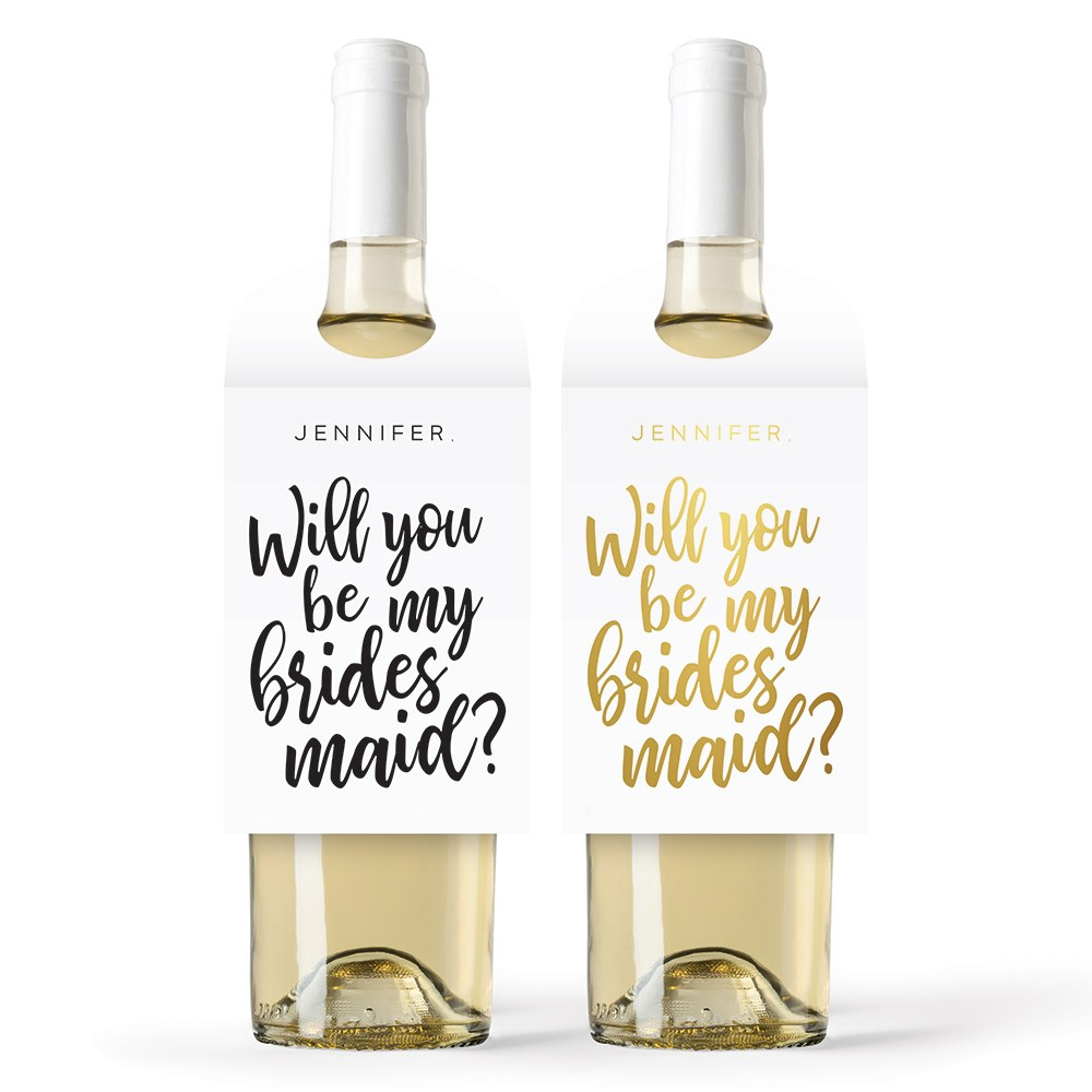 Personalized Wine Bottle Neck Hang Tags - Be My Bridesmaid