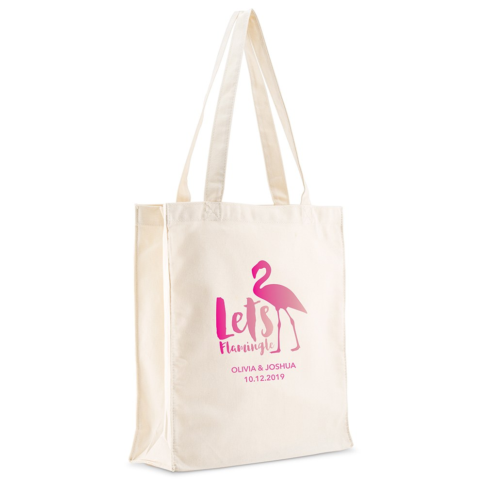 Personalized White Canvas Tote Bag - Let's Flamingle