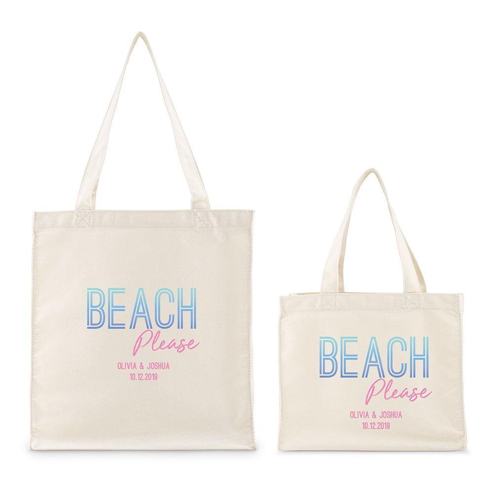 Personalized White Canvas Tote Bag - Beach Please