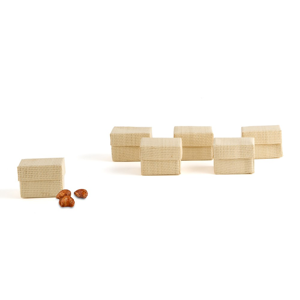 Natural 2 Piece Woven Wedding Favor Boxes - Natural Color