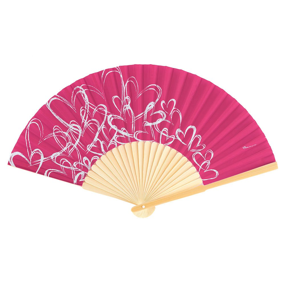 contemporary hearts wedding favor hand fans dark pink