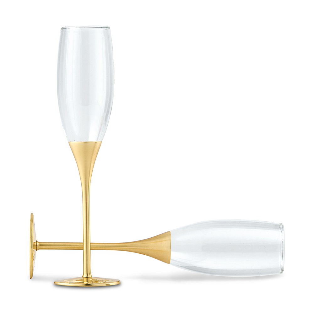 Gold Champagne Flutes with Swarovski Crystals - The Knot Shop