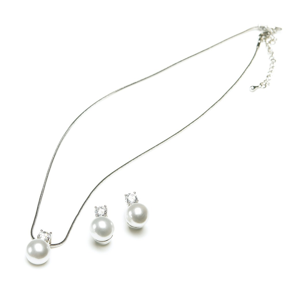 Silver Necklace and Earring Set – Round Pearl and Crystal Pendant