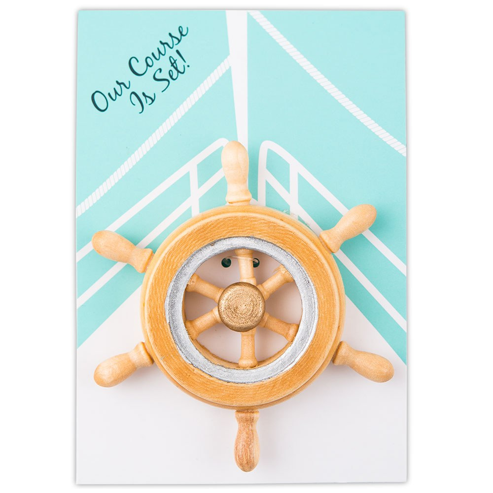 Our Course is Set Boat Wheel Wedding Favor  Magnet