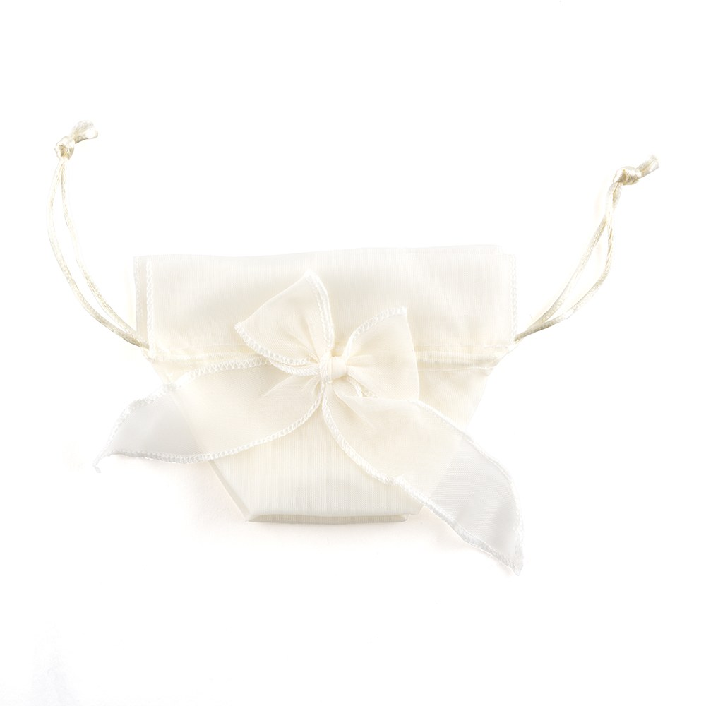 Organza Drawstring Wedding Favor Bags with Decorative Bow - Ivory