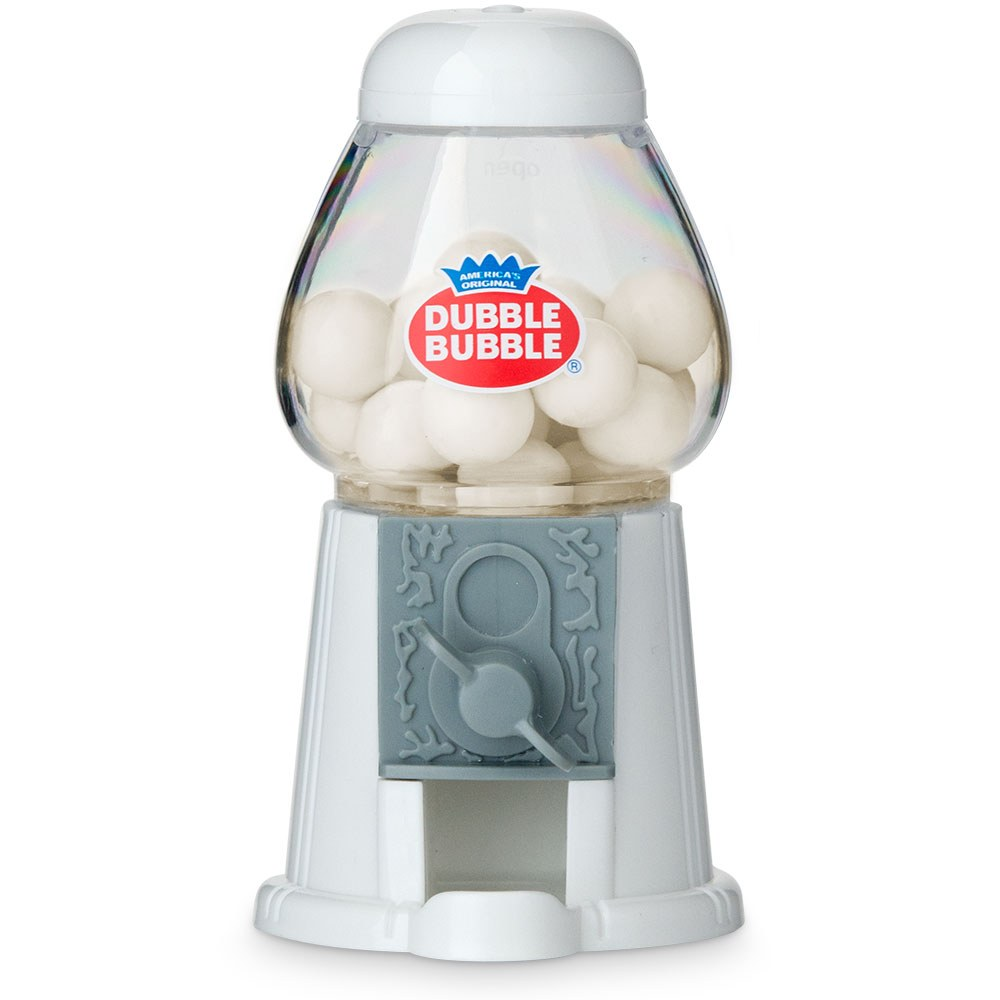classic wedding favor gumball machine in white w/ gum