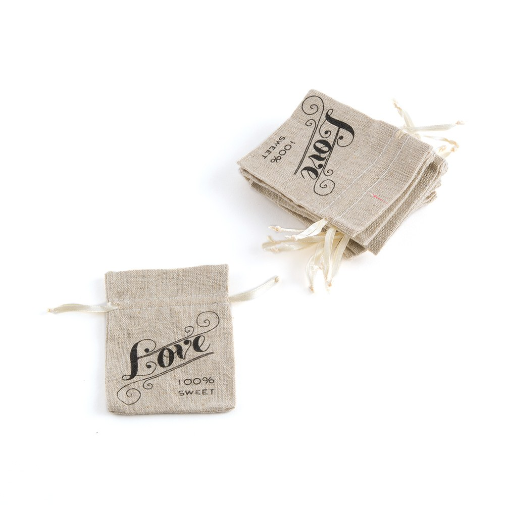mini love print wedding favor linen drawstring pouch