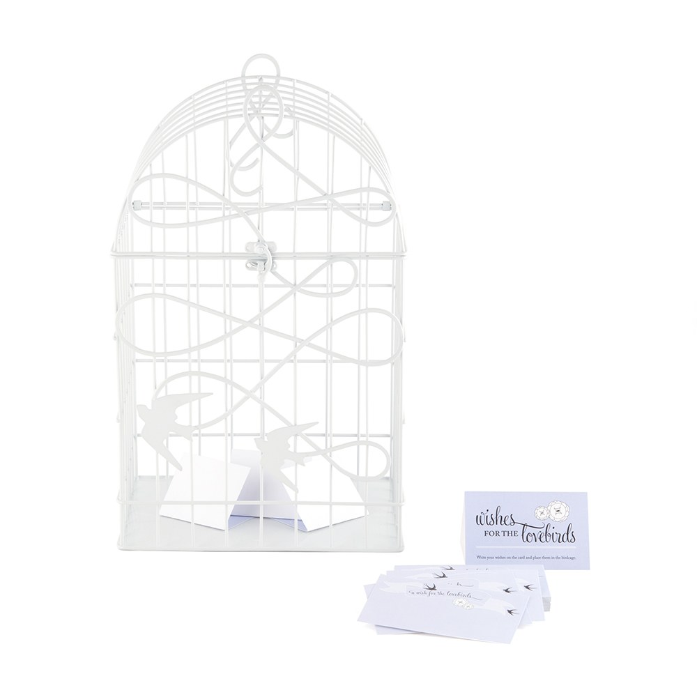 birds in flight decorative wedding birdcage - white
