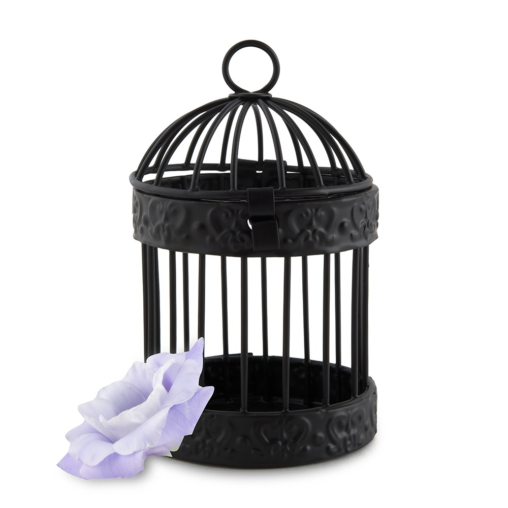 miniature wedding favor birdcages - black