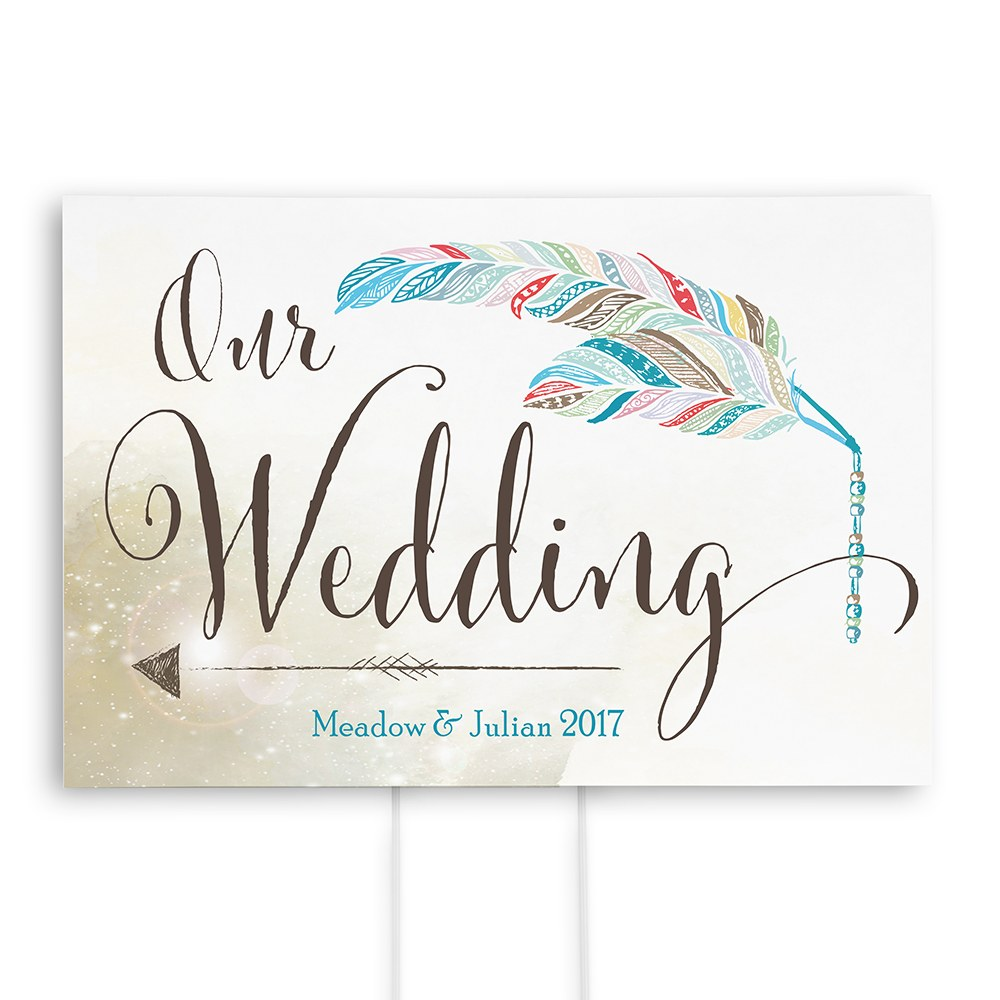 Feather Whimsy Personalized Directional Poster Sign