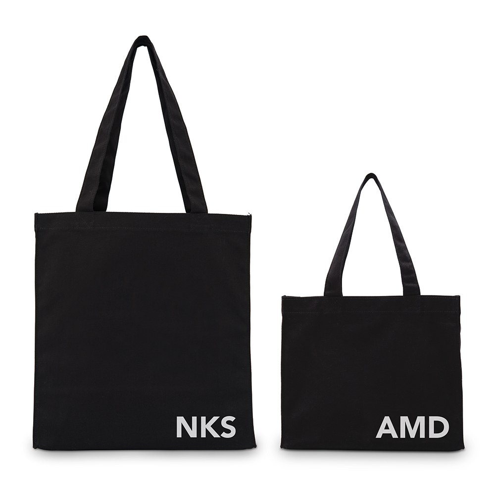 Modern Monogram Black Cotton Canvas Tote Bags