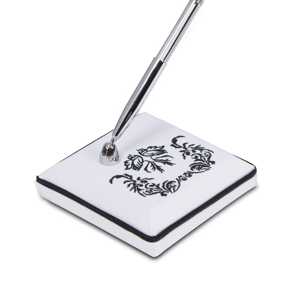 Love Bird Damask in Classic Black and White Base with Pen