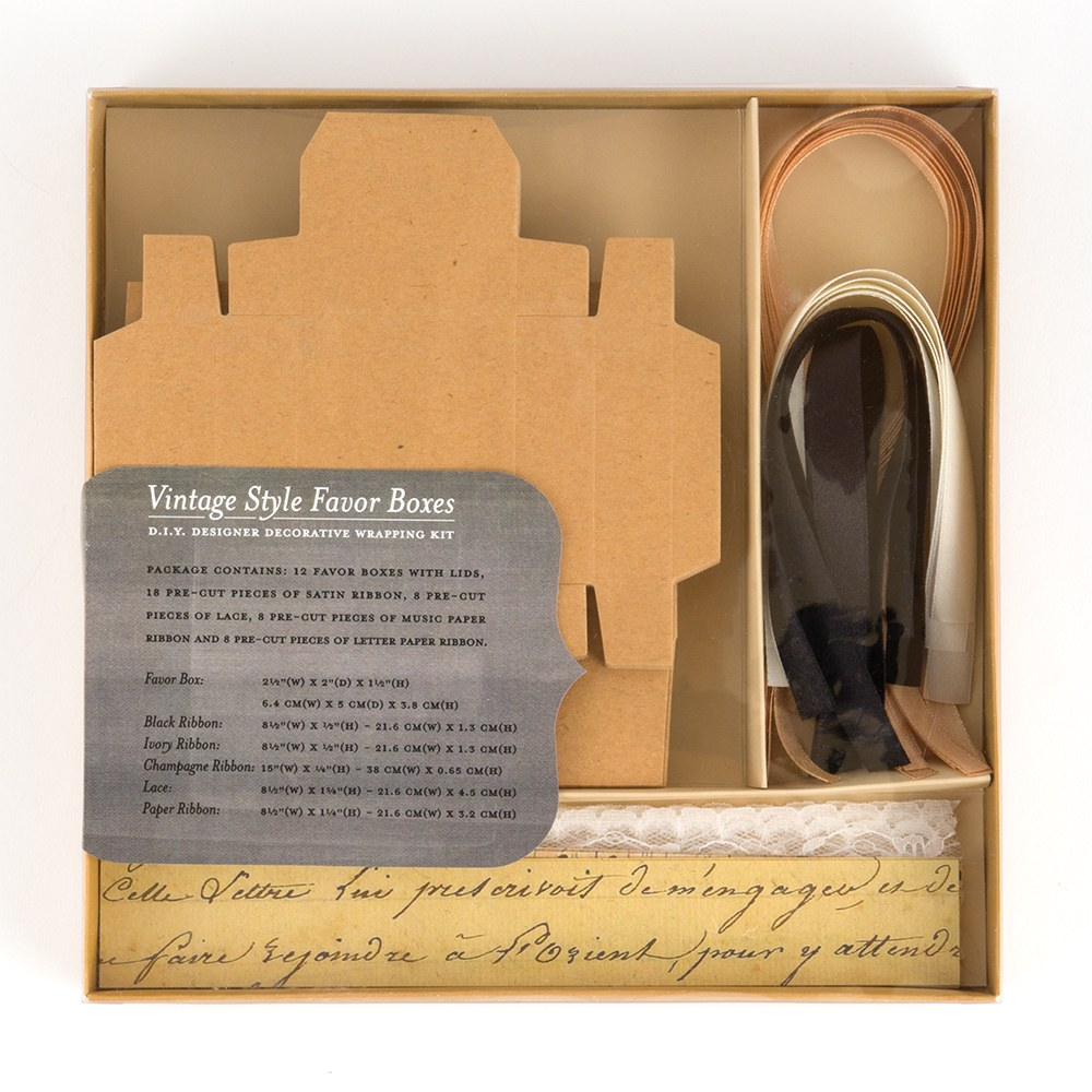 Vintage Style Favor Boxes Decorative Wrapping Kit