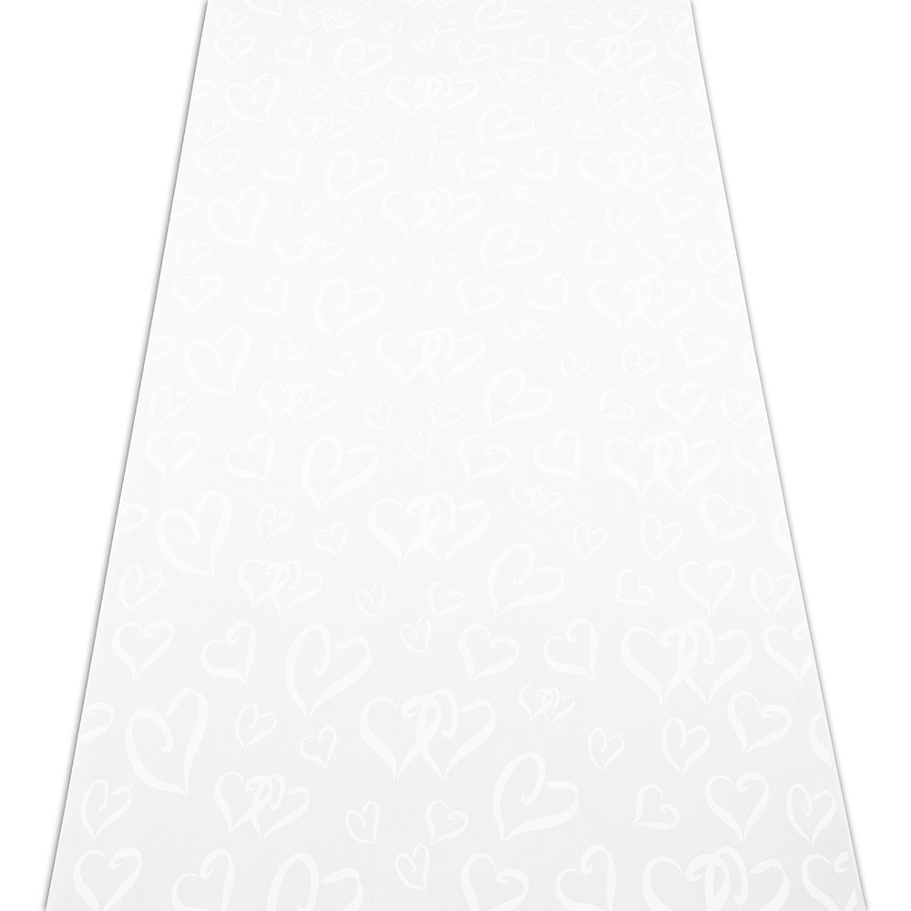 Aisle Runner White With All Over Heart Design