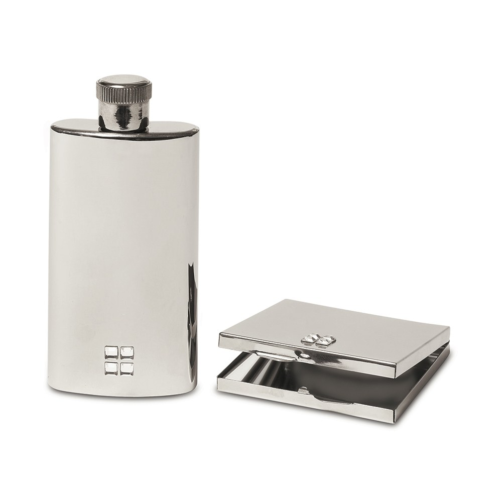 Personalized Silver Stainless Steel Hip Flask and Mirror Set - Monogram Engraved
