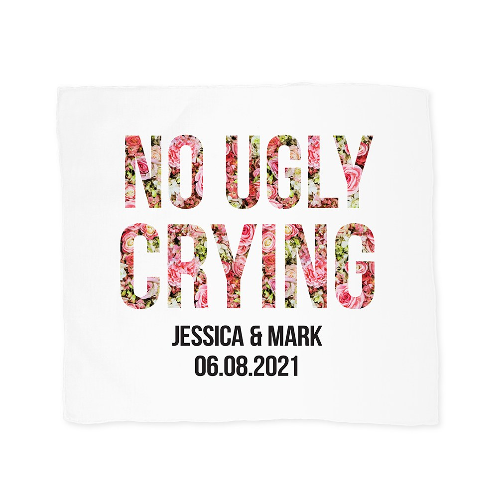 Personalized White Pocket Handkerchief - No Ugly Crying