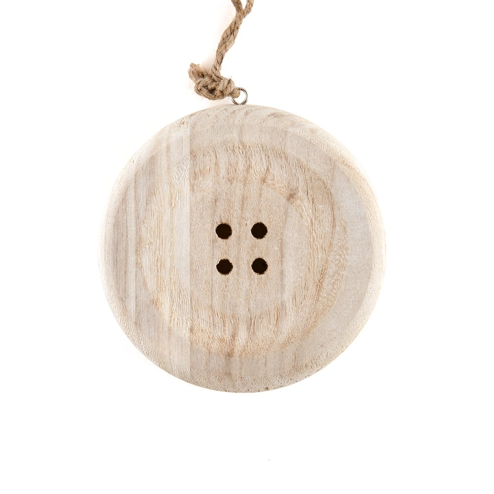 Charming Wooden Button Decoratoin with Natural Finish - Small