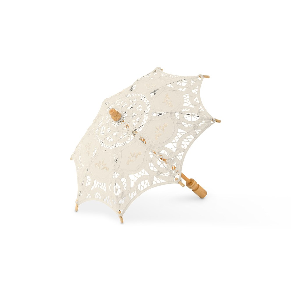 Antiqued Battenburg Lace Bridal Parasol - Small