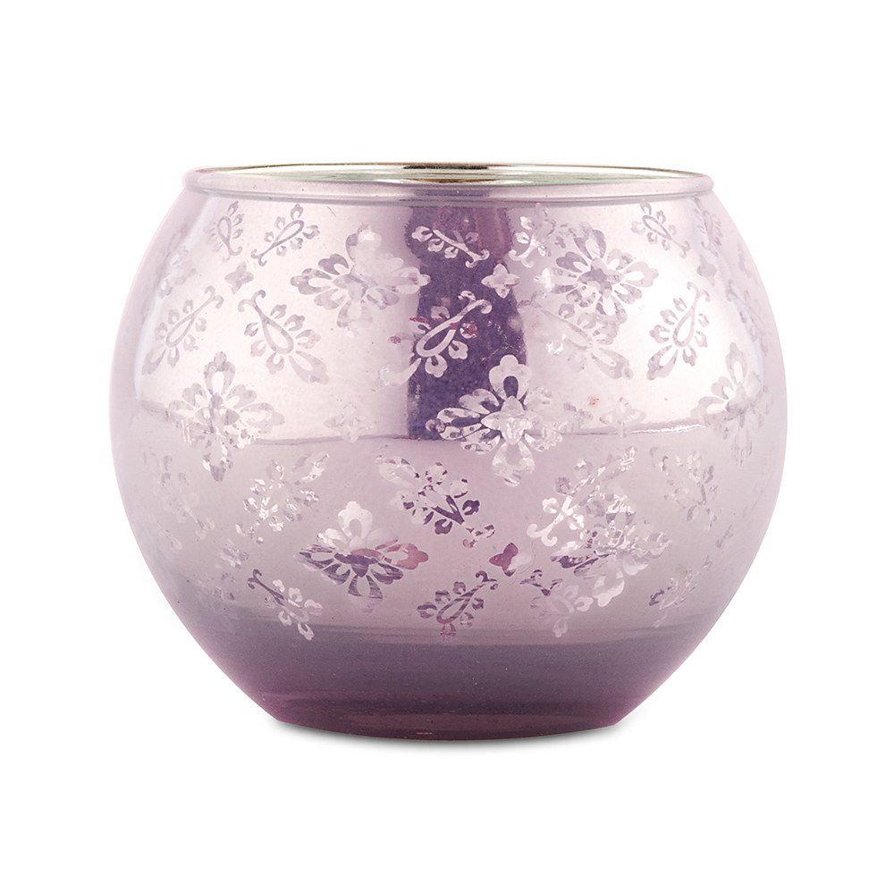 Large Glass Globe Votive Holder With Reflective Lace Pattern - Lavender