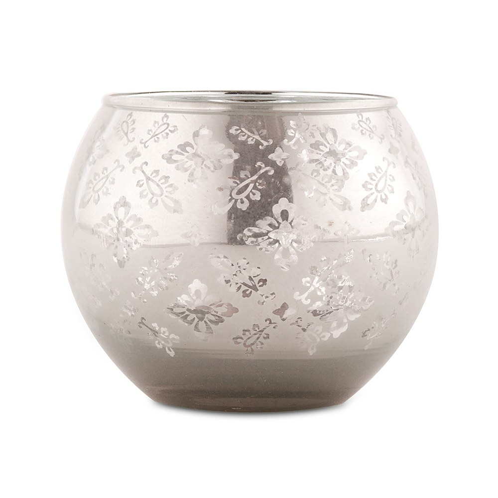 Large Glass Globe Votive Holder With Reflective Lace Pattern - Silver