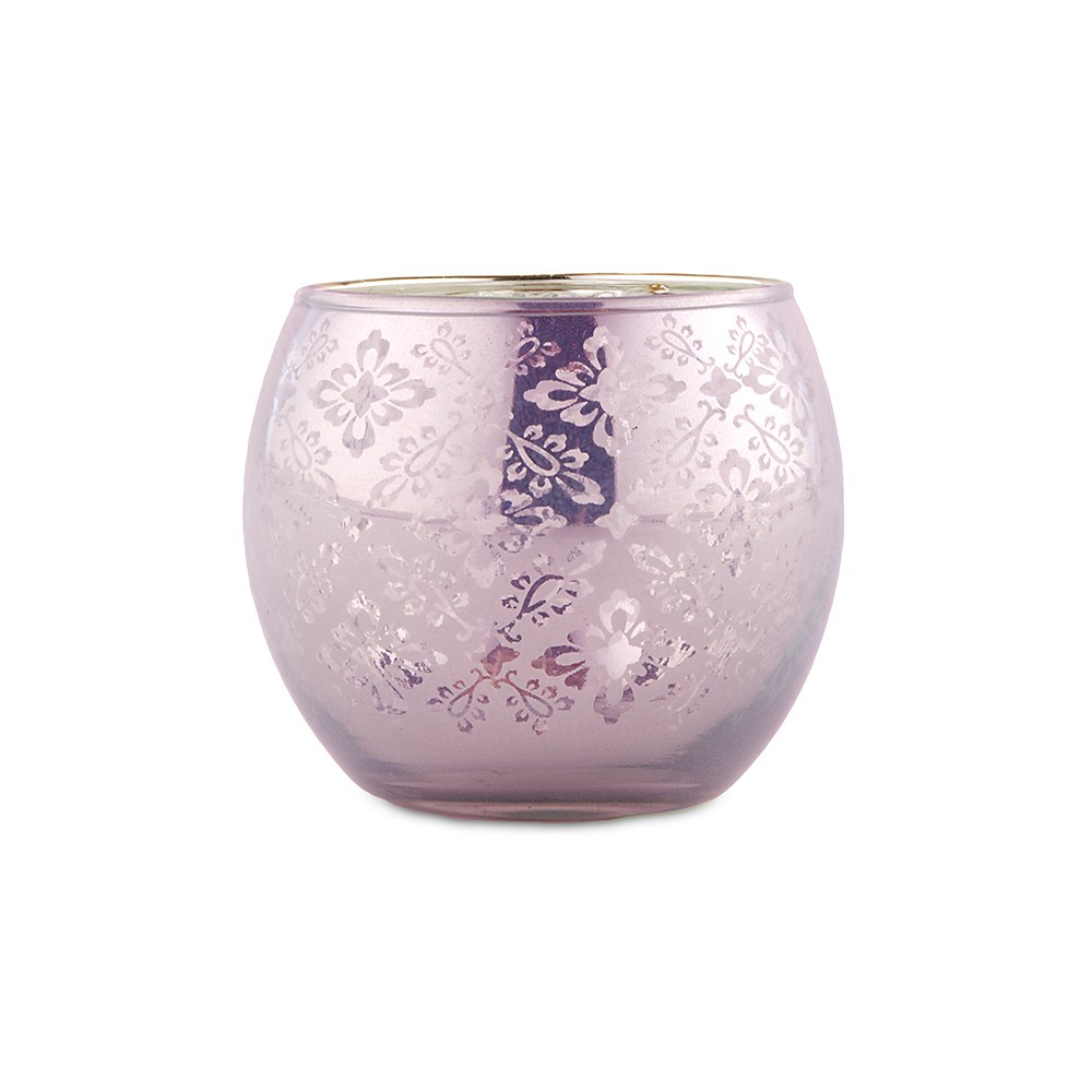 Small Glass Globe Votive Holder With Reflective Lace Pattern - Lavender