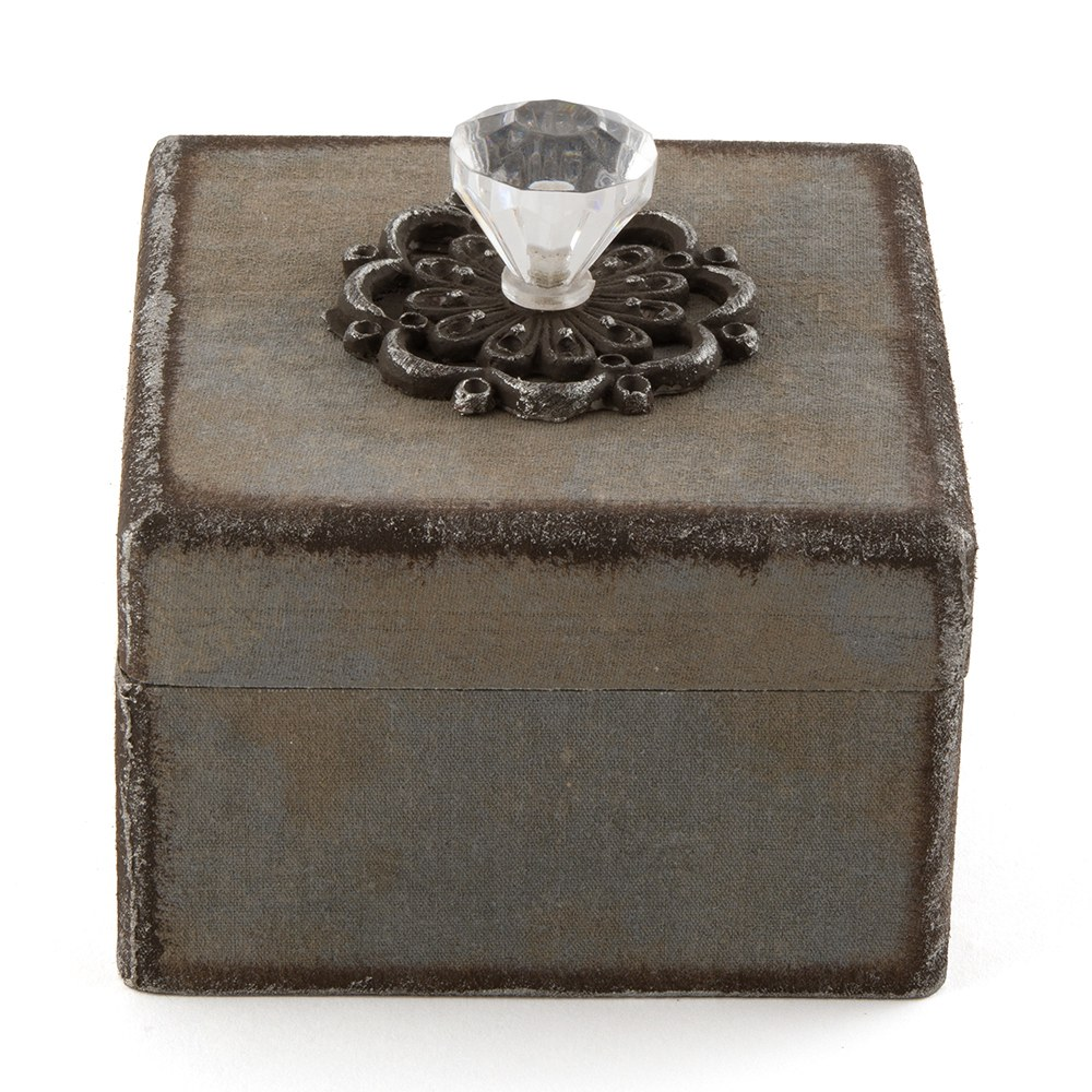 Decorative Vintage Boxes with Ornamental Pulls on Removable Lid