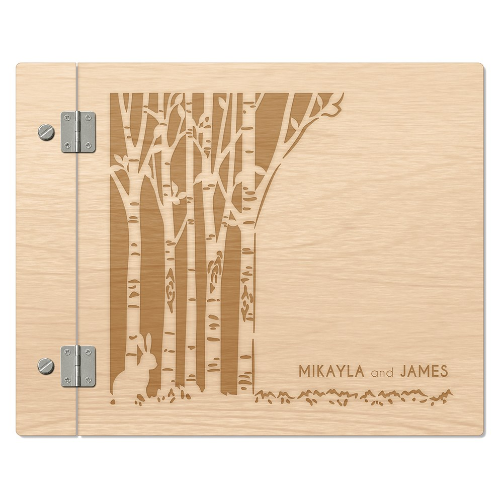 Personalized Wooden Wedding Guest Book - Woodland Pretty