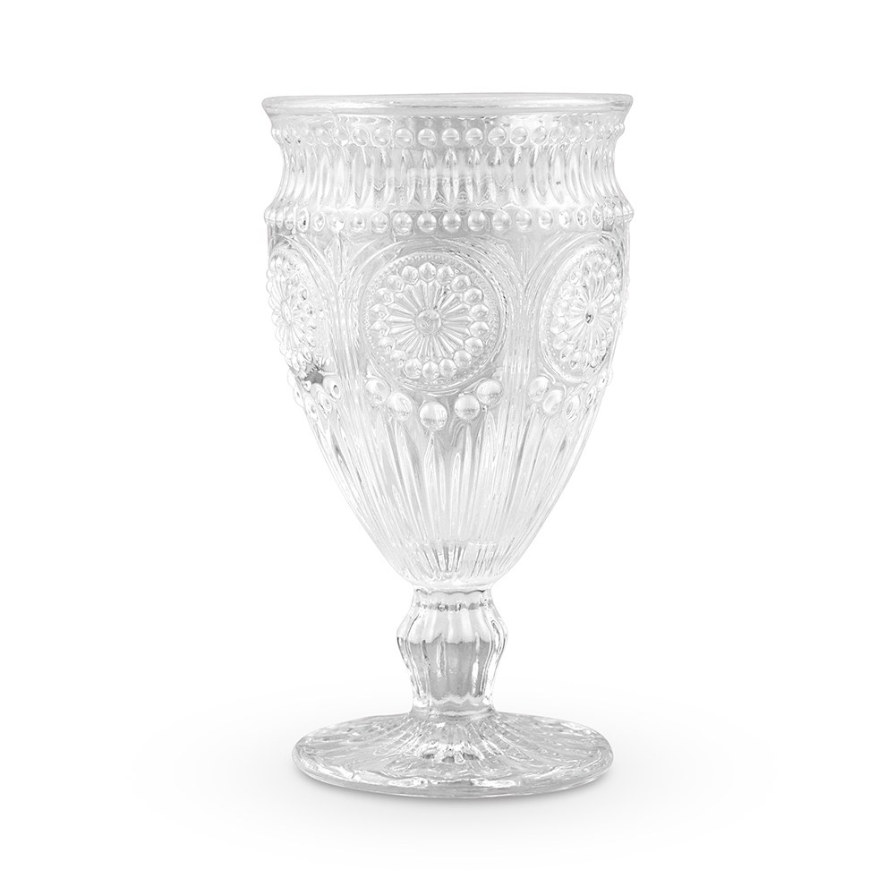 Vintage Style Pressed Glass Wine Goblet Clear