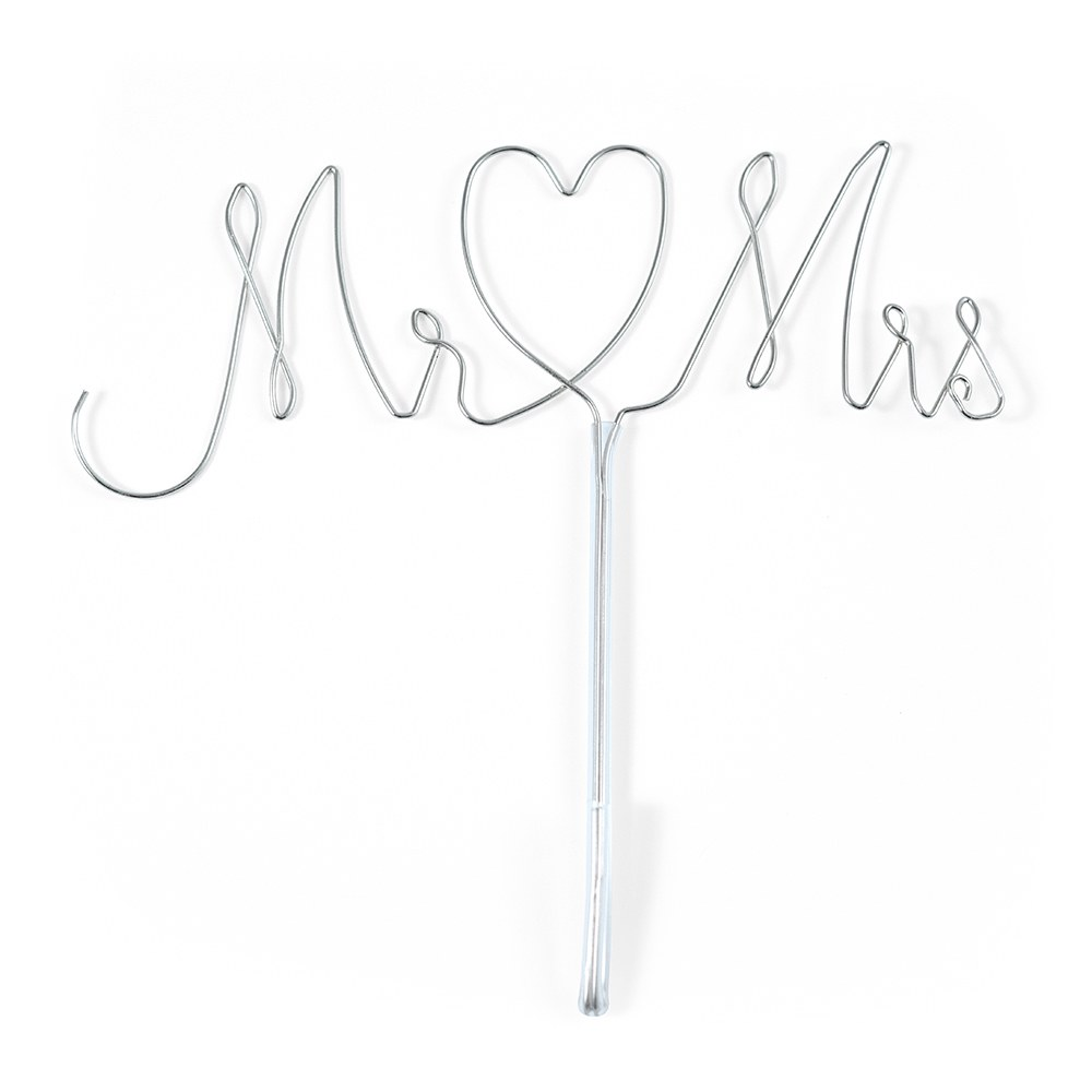 Mr And Mrs Twisted Silver Wire Cake Topper
