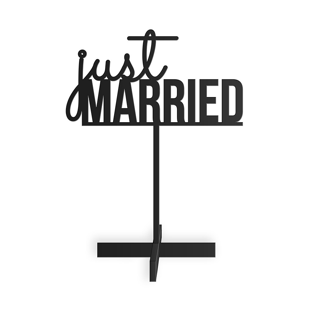 Just Married  Acrylic Sign   Black