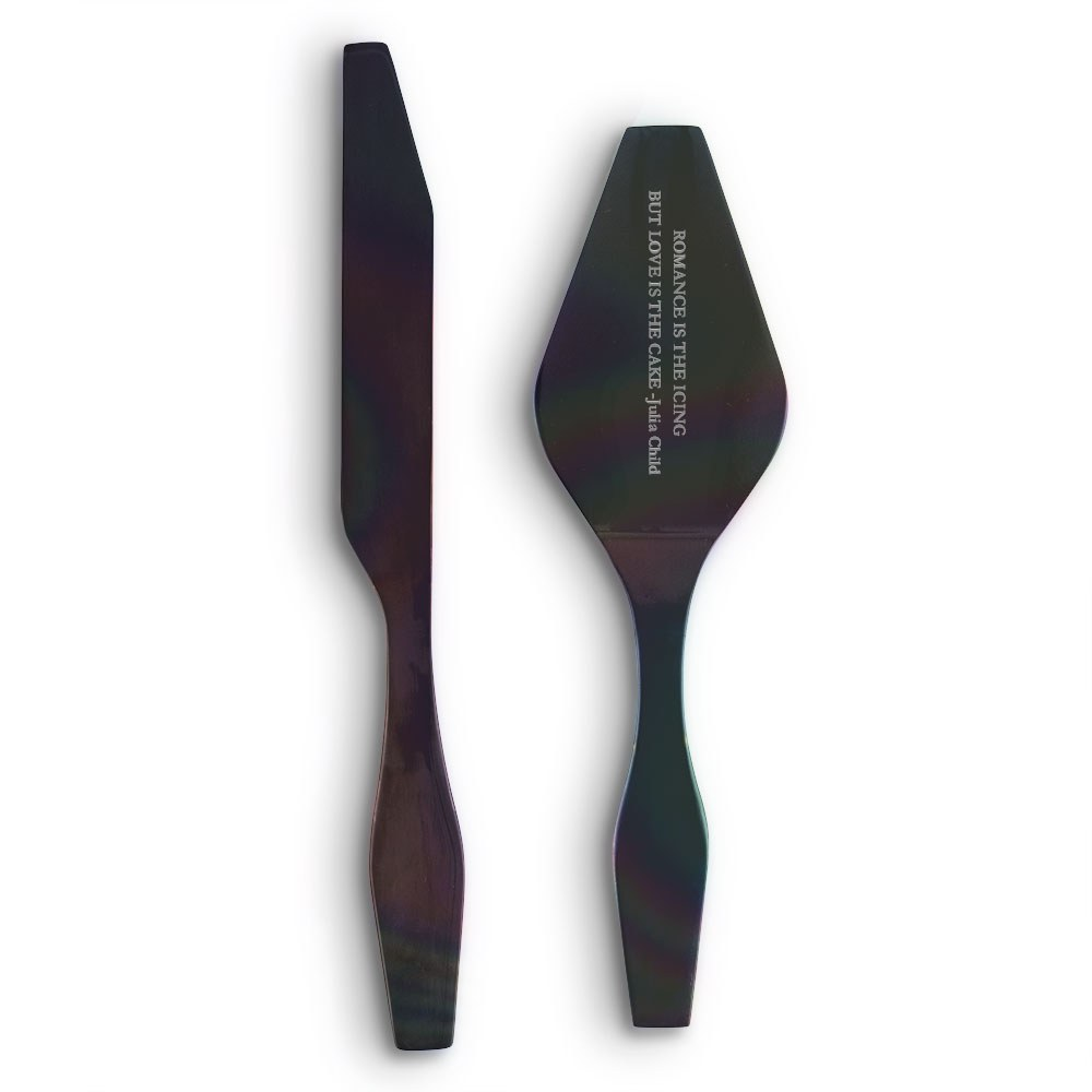 Onyx Black Modern Cake Serving Set Open Format Etching