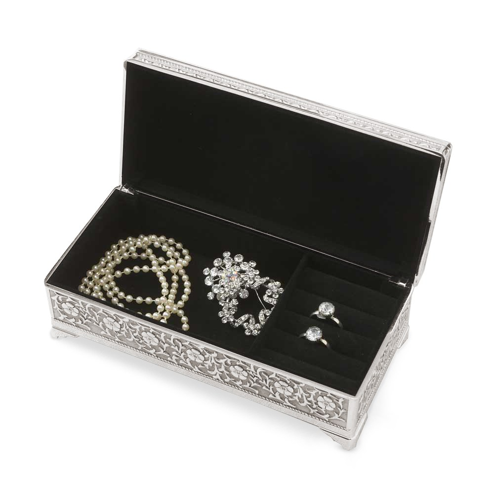 Small Personalized Rectangle Silver Jewelry Box– Pretty Floral and Vine