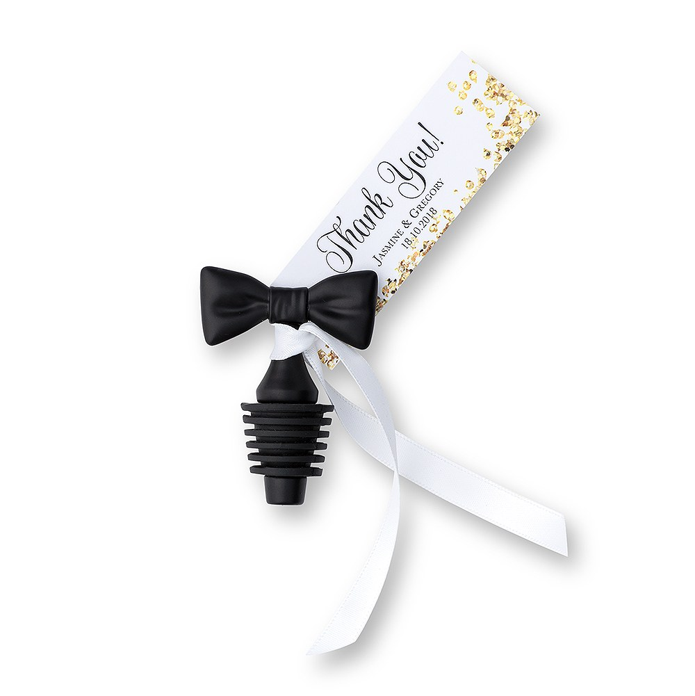 Black Tie Wedding Wine Bottle Stopper Favor