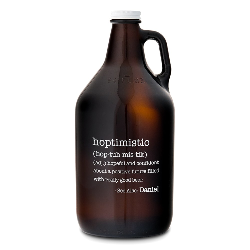 Personalized Micro Brew Amber Glass Beer Growler - Hoptimistic Printing