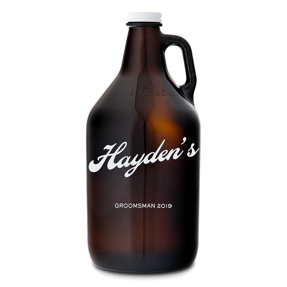 Personalized Amber Glass Beer Growler - Vintage Cursive Print