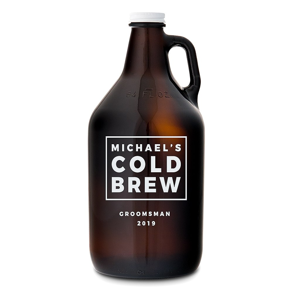 Personalized Amber Glass Beer Growler - Cold Brew Print