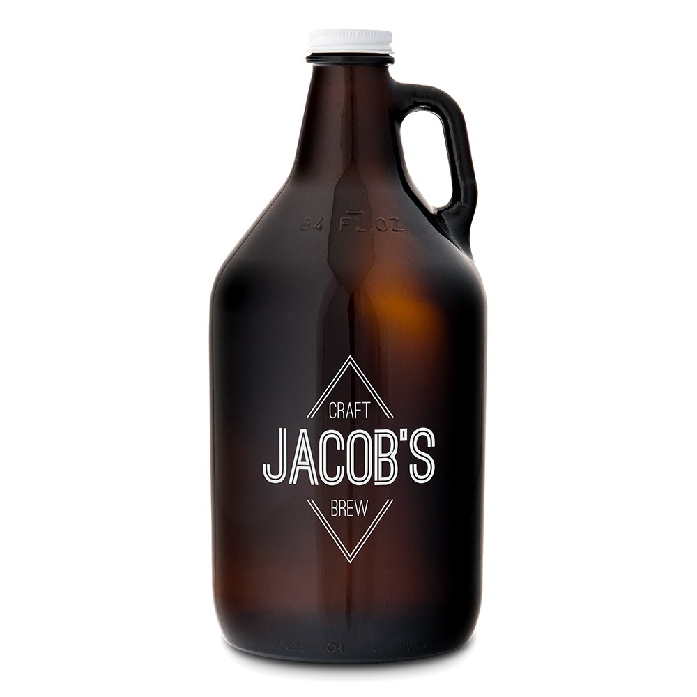 Personalized Micro Brew Amber Glass Beer Growler - Diamond Emblem Printing