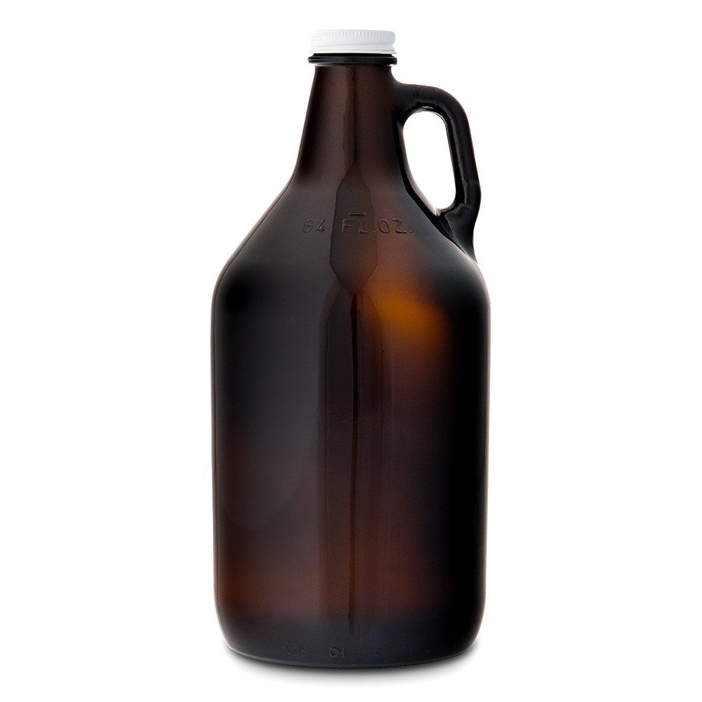 Micro Brew Amber Glass Beer Growler