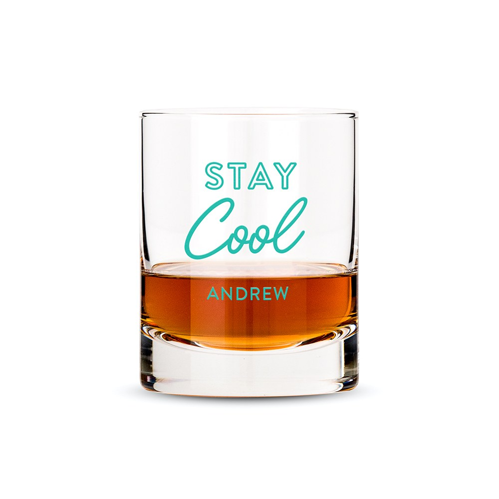Personalized Whiskey Glass - Stay Cool Print