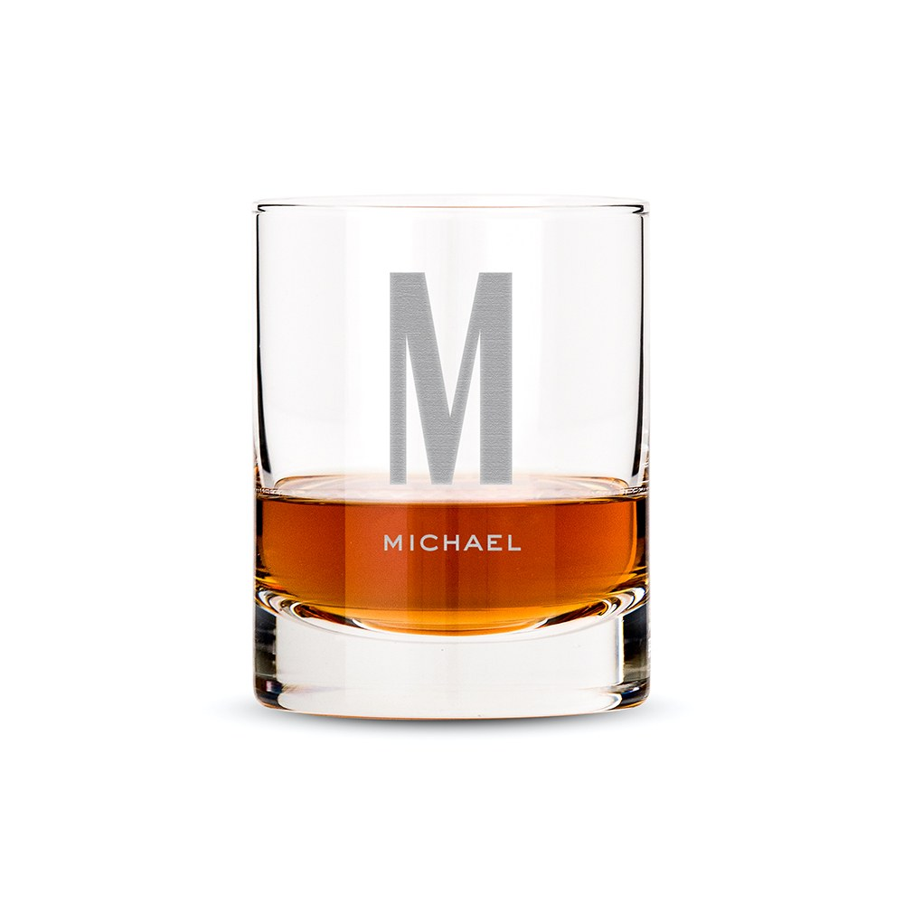 Personalized Whiskey Glass - Single Monogram Initial