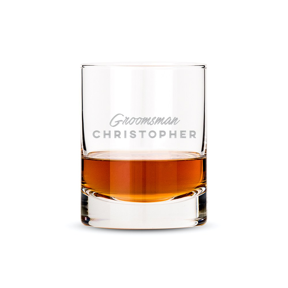 Personalized Whiskey Glass - Groomsman Cursive
