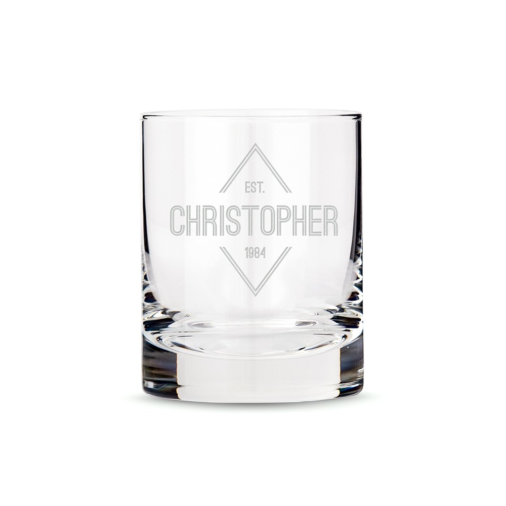 Personalized Whiskey Glass - Diamond Emblem