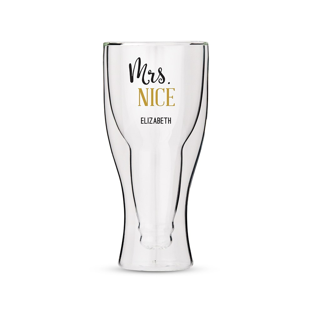 Personalized Double Wall Beer Glass – Mrs. Nice Print