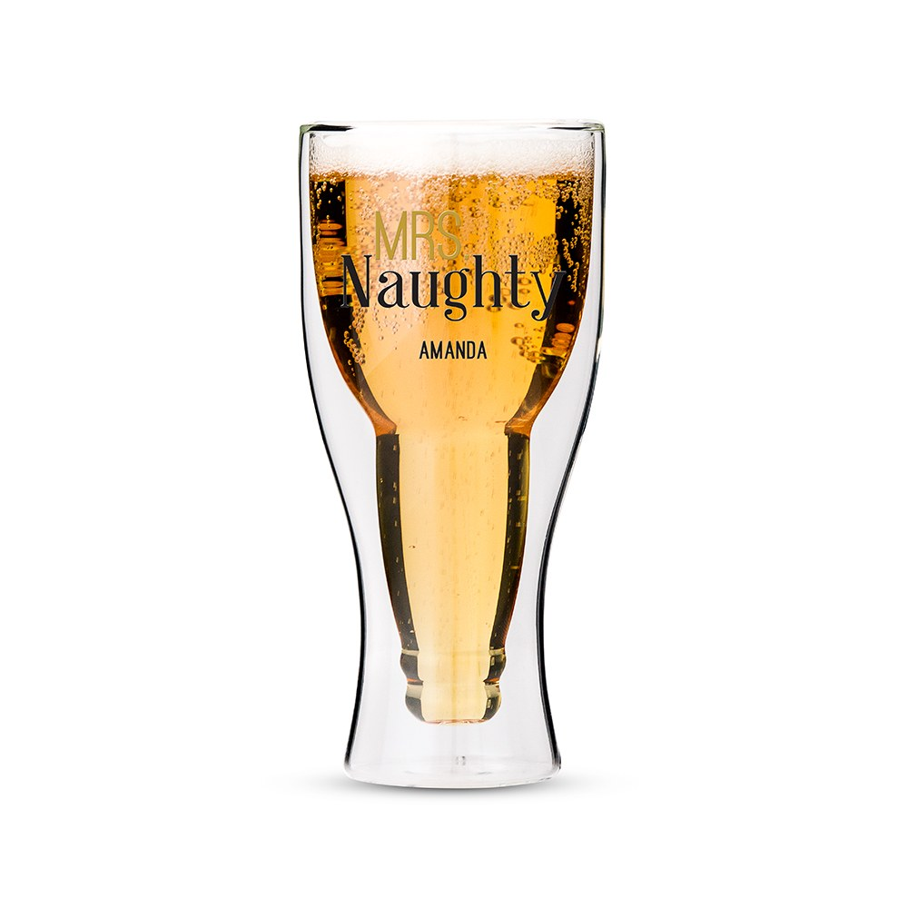 Personalized Double Wall Beer Glass – Mrs. Naughty Print