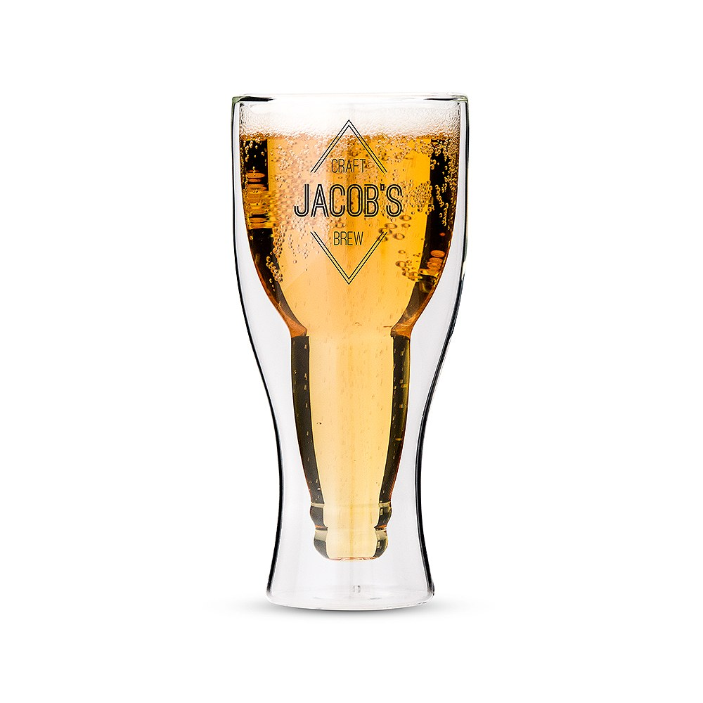 Personalized Double Wall Beer Glass – Diamond Emblem Print