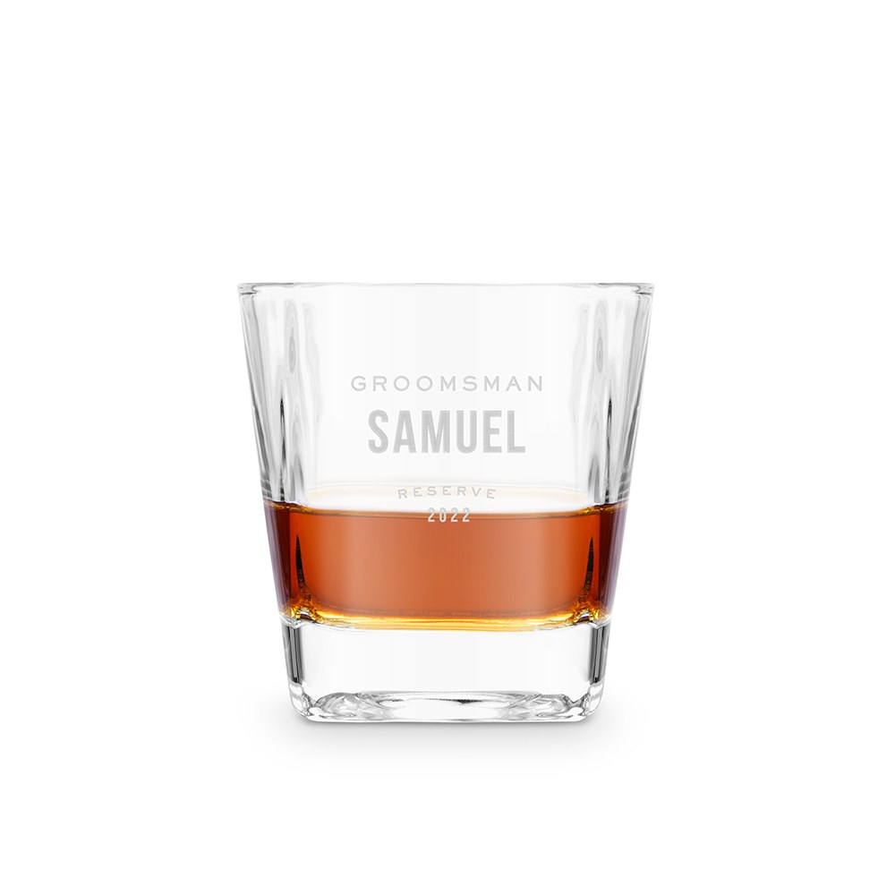 Personalized Square 8 oz. Whiskey Glass - Groomsmen Reserve