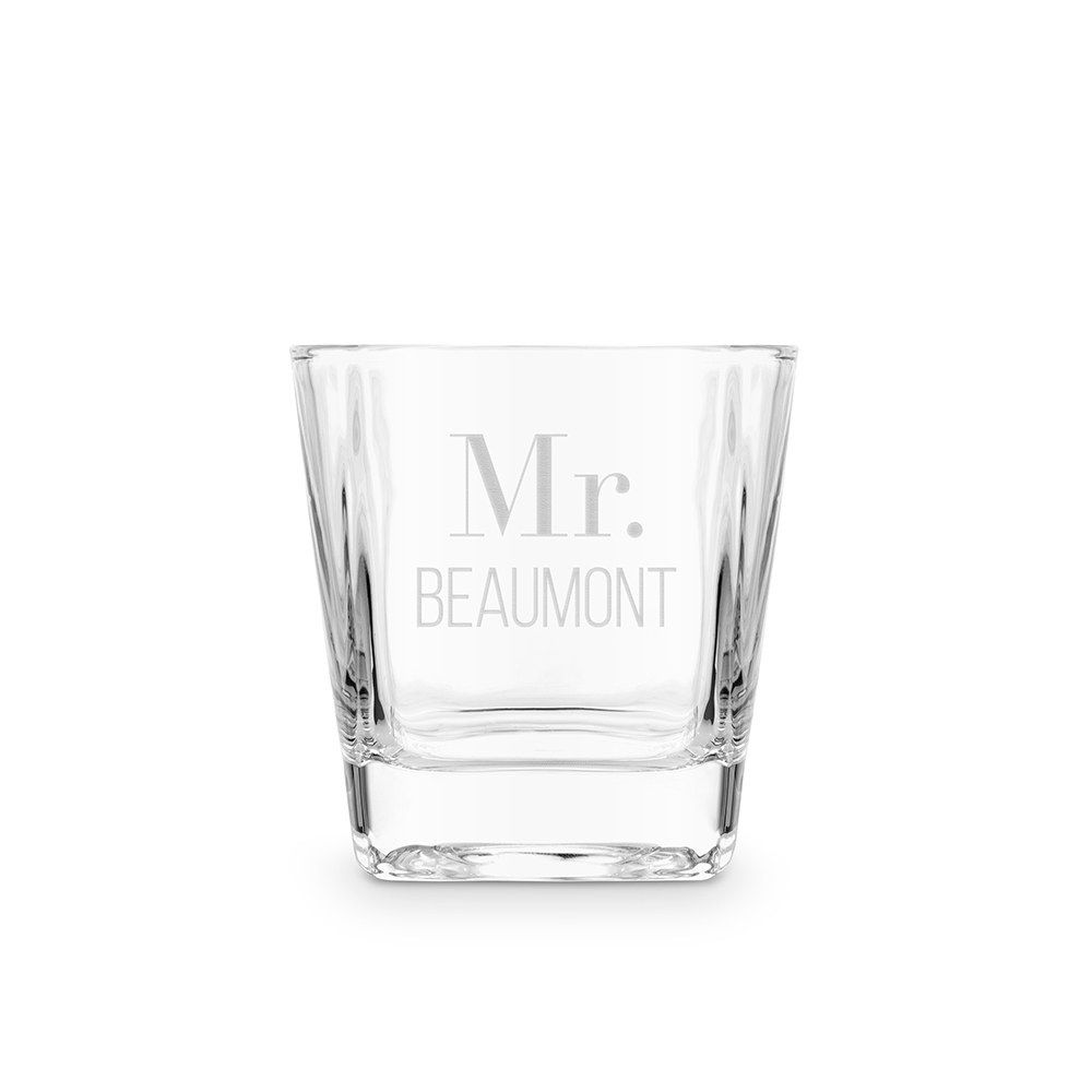Personalized Square 8 oz. Whiskey Glass - Classic Text