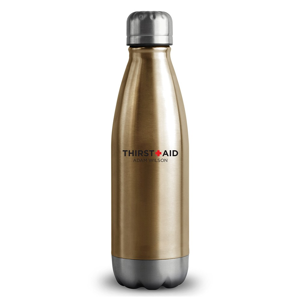 Personalized Gold Metal Cola Shaped Water Bottle – Thirst Aid Print